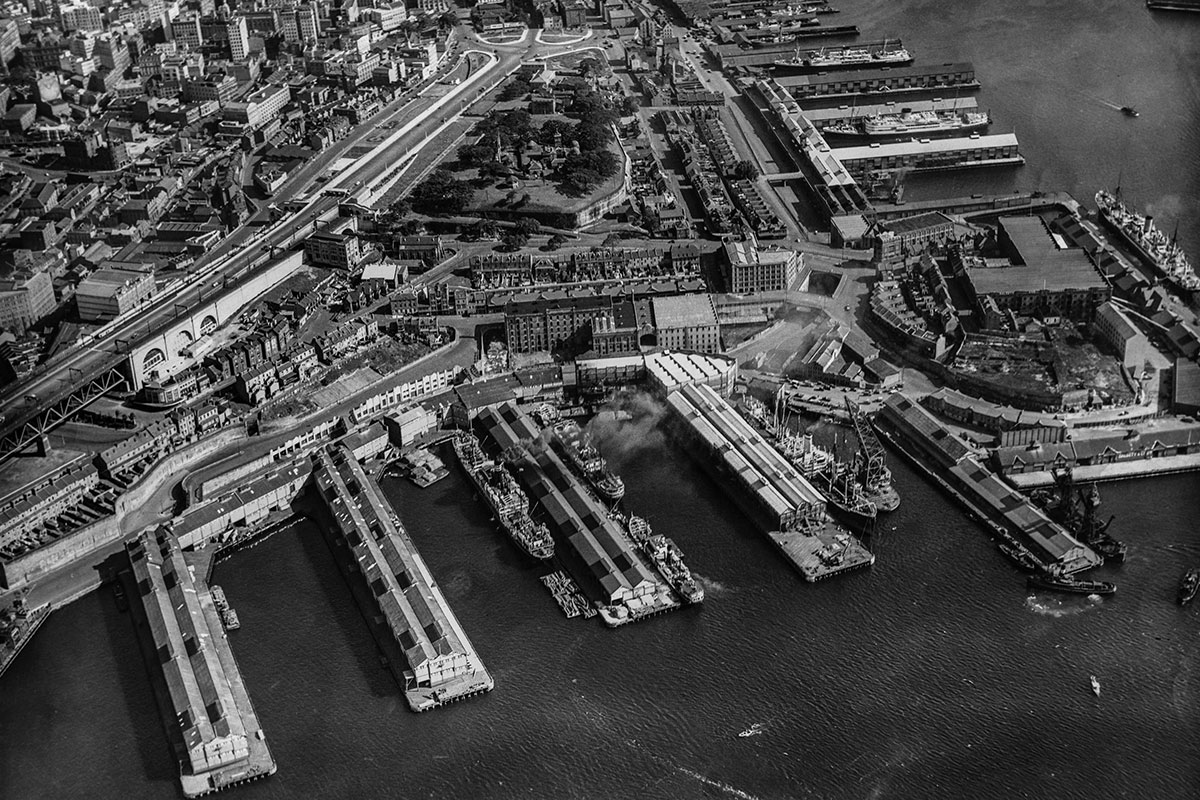 Looking over Walsh Bay wharves towards Observatory Hill, Millers Point and Darling Harbour. 26/2/1958