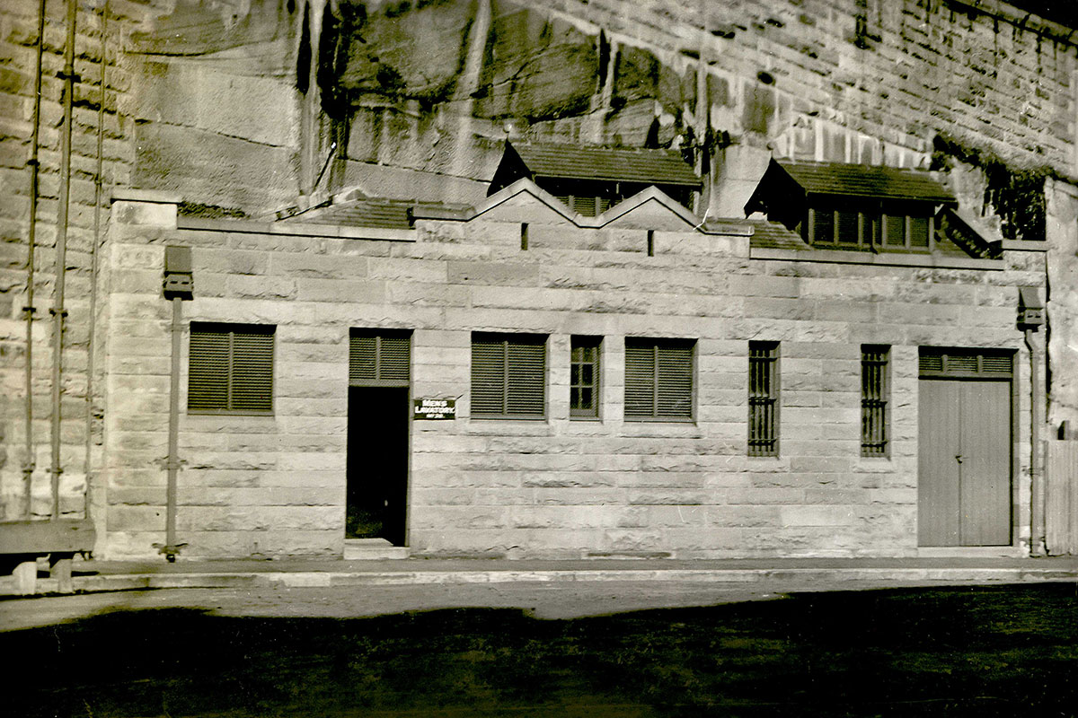 Hickson Rd Walsh Bay - Toilet / lavatory. Sandstone wall. 1934